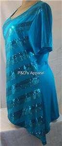 New Dress Barn Womens Plus Size Clothing Blue Shirt Top Blouse 1X 2X