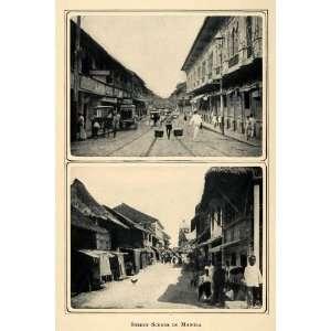 1905 Duotone Print Street Scenes Manila Philippines Southeast Asia