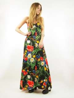 Vtg 70s BLACK Floral EMPIRE Deep V HALTER Open Back Garden MAXI Dress