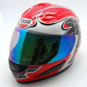 Motorcycle Street Bike Spider Red Full Face Adult Helmet