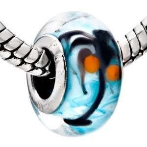 Aquamarine Coconut Tree Murano Glass Beads Fits Pandora