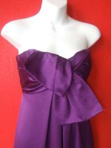 NICOLE MILLER purple strapless SILK gown   formal full length dress $