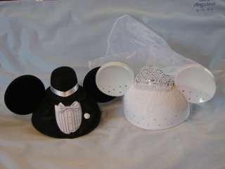 BRIDE & GROOM MICKEY MOUSE EARS HAT DISNEY WEDDING SET