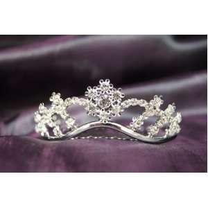 Princess Bridal Wedding Tiara Crown with Crystal Flower