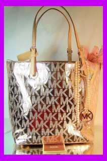 MICHAEL KORS SIGNATURE RICH ROSE GOLD LEATHER Grab Bag Handbag LOGOS
