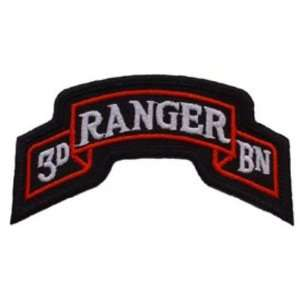 U.S. Army 3rd Ranger Battalion Patch Black & White 3 5/8
