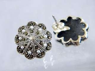 Vintage Seed Pearl Marcasite Sterling Pendant &Earrings