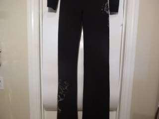 Sweat Hoodie Track Pant Set Black Silver Stud Embellished M