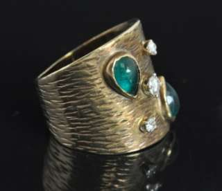 Estate Vintage 10K Yellow Gold Natural Emerald Diamond Wide Cigar Band