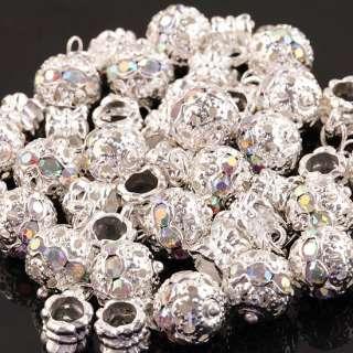 20x Shiny Dangle AB Crystal Inlay European Beads PPc70