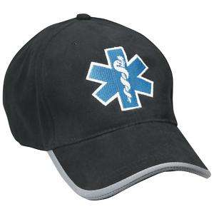 EMT/EMS/Paramedic STAR OF LIFE Baseball Hat/Cap Black