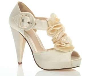WOMENS LADIES HIGH HEEL PLATFORM WEDDING EVENING SANDALS BRIDAL PROM