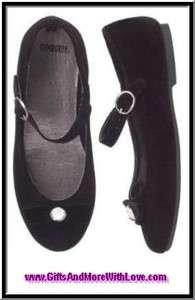 HOLIDAY PANDA BLACK VELVET LIKE GEM BOW DRESS SHOES US 4 EUR 20
