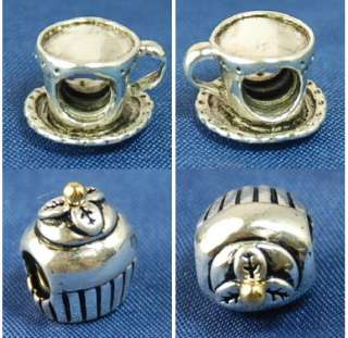 STERLING Silver European Bead CHARM COFFEE CUP / CUPCAKE W GOLDEN TOP