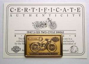 Bronze Bar Ingot 1947 S 125 SINGLE Harley Davidson COA