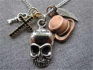 Mens charm braceletsilver skull, key & winggold cross with