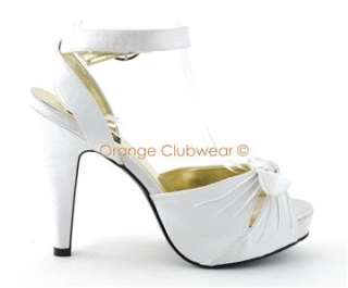 PINUP Ivory Satin Womens High Heels Open Toe Sexy Retro Style