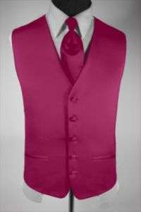 Mens Suit Tuxedo Dress Vest Necktie Fuchsia Pink Large