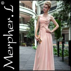 New One Shoulder Silk Pink Bridemaid cocktail Long evening dress