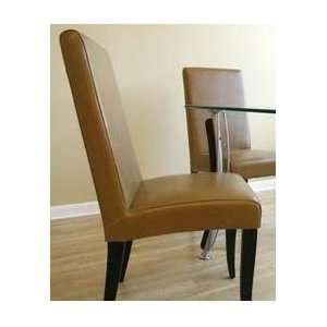 Light Brown Full Leather Dining Chair   Set of 2