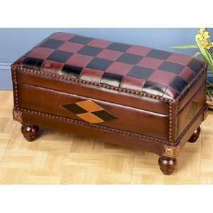 LEATHER STICHED TUSCANY STYLE BENCH with Storage Trunk
