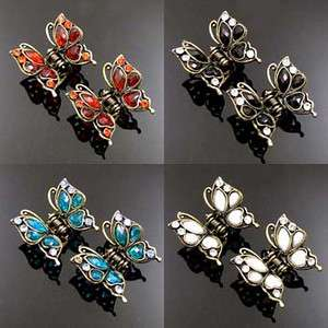 ADDL Item FREE SHIPPING 2 antiqued rhinestone crystal butterfly hair