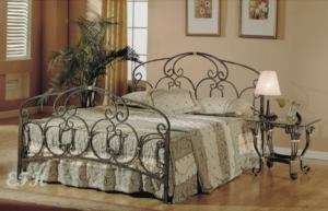 NEW TRADITIONAL ANTIQUED PEWTER FINISH METAL QUEEN BED