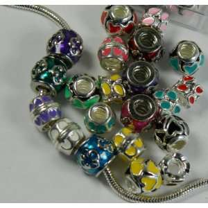 18 At Silver Enameled Rondelle Spacer Charms Mix Threaded