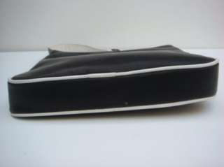 Perlina Black & White Leather Evening Bag Purse