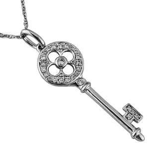 15 127 WDN 14K White Gold Diamond Key Necklace JewelryCastle Jewelry