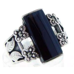 Sterling Silver Onyx Bar with Leaf Etching Ring Jewelry