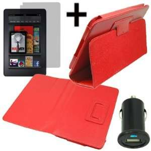 Kindle Fire + LCD + USB Car Charger Adapter Red Electronics