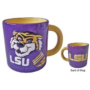 LSU Tigers Embossed Mascot Logo Mug: Sports & Outdoors