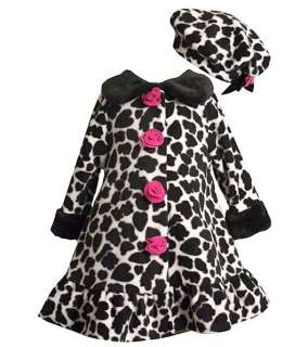 New Bonnie Jean Girls Leopard Rose Fleece Coat Hat sz 5
