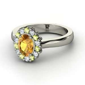 Princess Kate Ring, Oval Citrine 14K White Gold Ring with