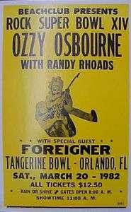Ozzy Osbourne Superbowl 1982 Concert Poster