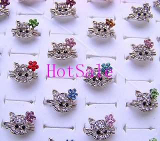 wholesale 100p charm full rhinestone KITTY CAT rings
