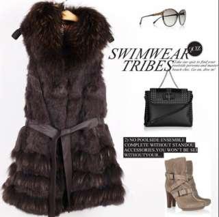 Womens Vest 100% Real Fox Fur Collar Rabbit Fur Vest Long Warm Coat S