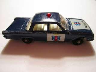 Vintage 55 B Ford Fairlane Police Car, Original Matchbox Car