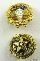 ORDER EASTERN STAR   Masonic 50 Year 3 Pins 1 Pendant