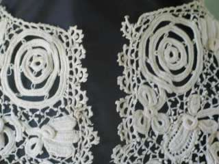 Vintage Antique Irish Crochet Crocheted Lace Handmade Wide Bertha