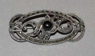 DECO Sterling Silver MARCASITE French JET Open Work BROOCH   Hallmark