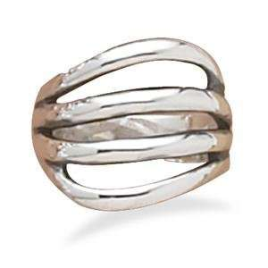 Four Row Oxidized Sterling Silver Ring, 6 Jewelry