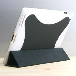 com (Black)PU leather case/Flip Stand Case with plastic case for iPad