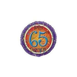 18 Happy 65th Birthday Swirl Balloon   Mylar Balloon Foil