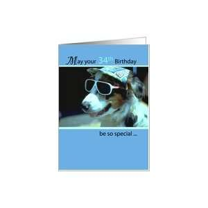 : 34th Birthday Wishes, Dog with Sunglasses and Hat, Humorous, Funny