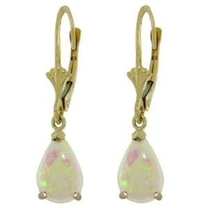 14k. Solid Gold Leverback Earring with Natural Opals Jewelry