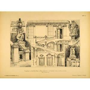 1890 Print Clam Gallas Palace Staircase Statues Prague