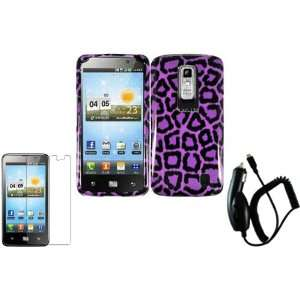 Purple Leopard Hard Case Cover+LCD Screen Protector+Car Charger for LG