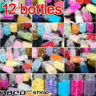12 Mini Bottle Set Glitter Nail Art Powder Tips Rhinestone Decoration